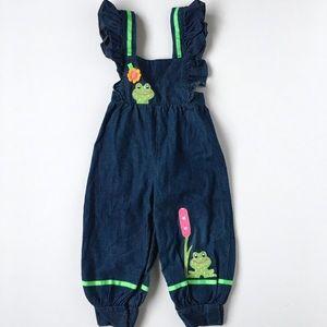 Other - Vintage Denim Overall Jumper Pants Romper 3T Patch